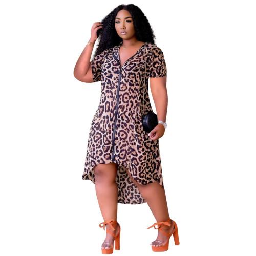 Leopard Print Zip Up Hooded Irregular Casual Dress