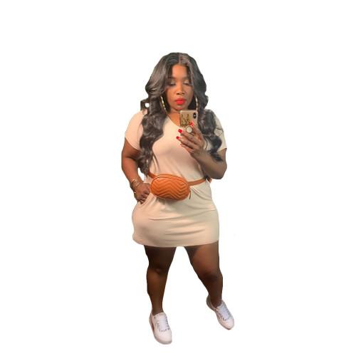 Apricot V-Neck Short Sleeve T-Shirt Dress with Pockets