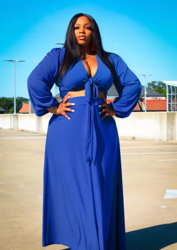 Plus Size Blue Long Sleeve Crop Top and Skirt 2PCS Set