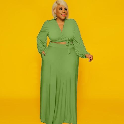 Plus Size Green Long Sleeve Crop Top and Skirt 2PCS Set