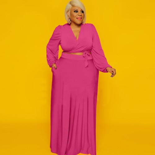 Plus Size Hot Pink Long Sleeve Crop Top and Skirt 2PCS Set