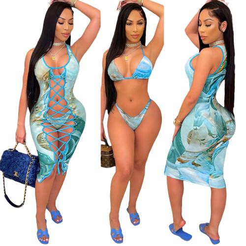 Print Bikini Set with Lace-Up Cover Ups 3PCS Swimwear