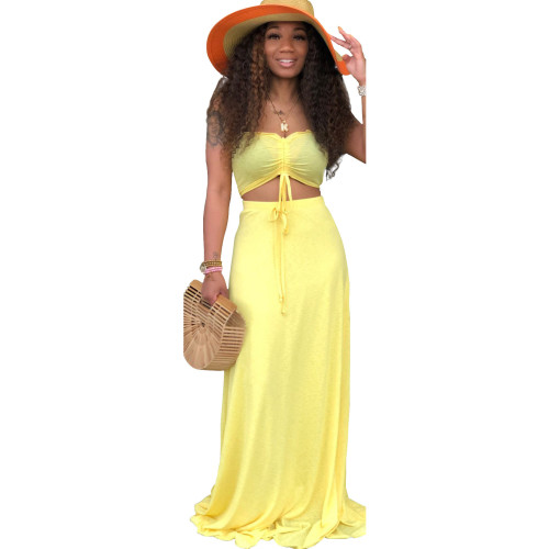 Yellow Sexy Drawstrings Bandeau Top and Long Skirt 2PCS Set