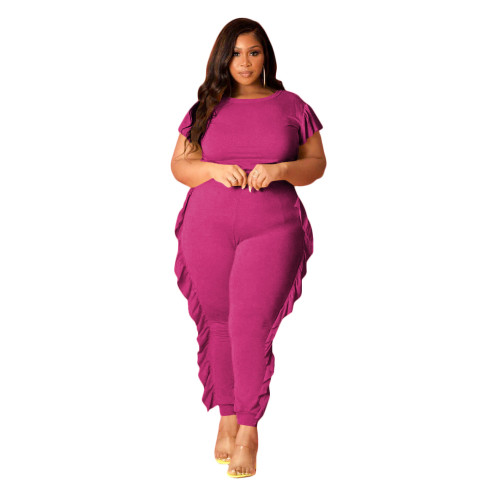 Plus Size Hot Pink Frill Casual Two Piece Pants Set