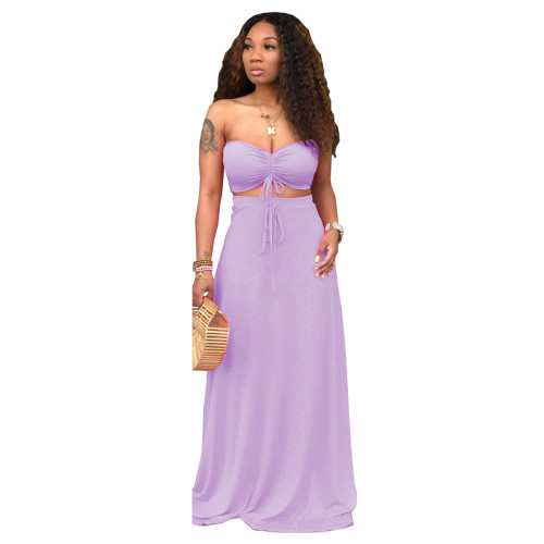 Purple Sexy Drawstrings Bandeau Top and Long Skirt 2PCS Set