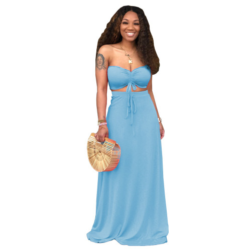Blue Sexy Drawstrings Bandeau Top and Long Skirt 2PCS Set
