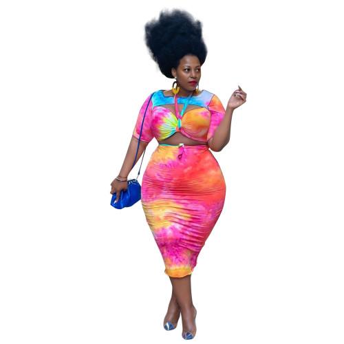 Plus Size Tie Dye Half Sleeve Crop Top and Midi Skirt Set