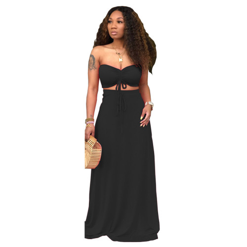 Black Sexy Drawstrings Bandeau Top and Long Skirt 2PCS Set