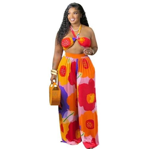 Plus Size Floral Print Bra Top and Wide Leg Pants 2PCS Set