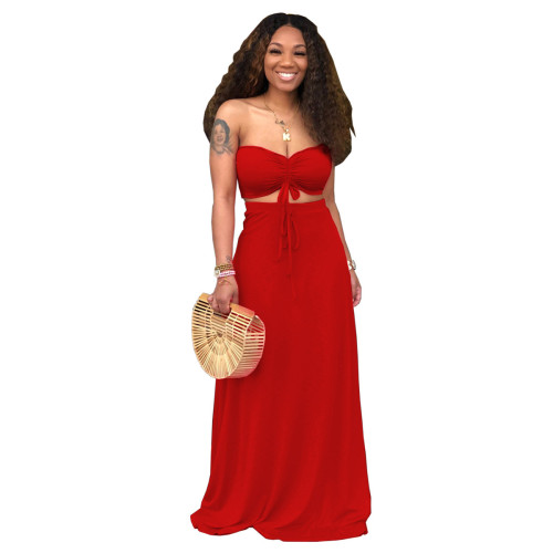 Red Sexy Drawstrings Bandeau Top and Long Skirt 2PCS Set