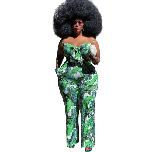 Plus Size Floral Green Cami Top and Pants Two Piece Set