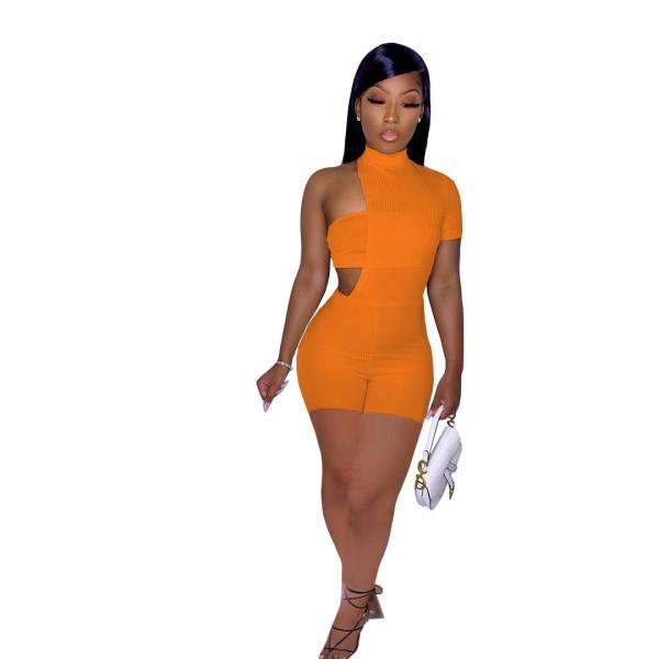 Orange One Shoudler Irregular Sexy Bodycon Rompers