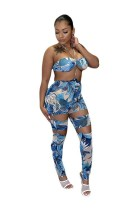 Floral Blue Print Cut Out  O-Rings Backless Sexy Halter Jumpsuit