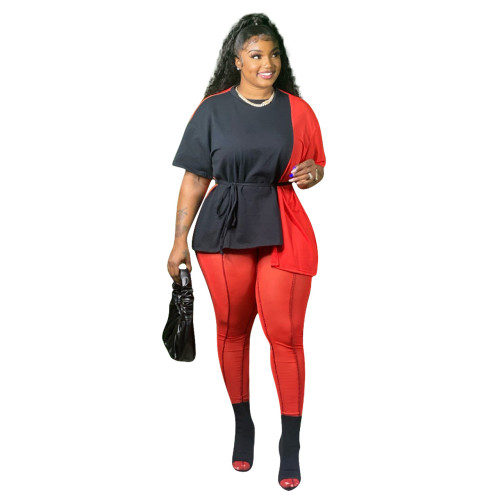 Plus Size Black & Red Tie Waist Irregular Tee and Pants Set