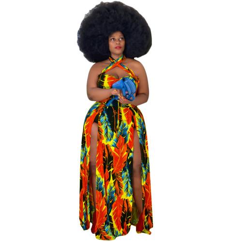 Plus Size Leaf Print Orange Halter High Slit Maxi Dress