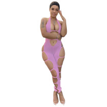 Pink Sexy Party Halter Hollow-Out Jumpsuit