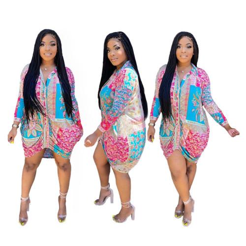 Print Fashion Collar Drawstrings Blouse Dress