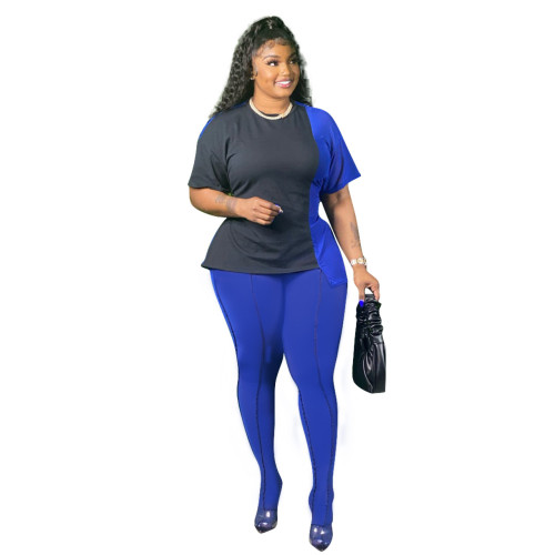 Plus Size Black & Blue Tie Waist Irregular Tee and Pants Set