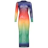 Gradient Colorful Mesh Long Sleeve Maxi Dress