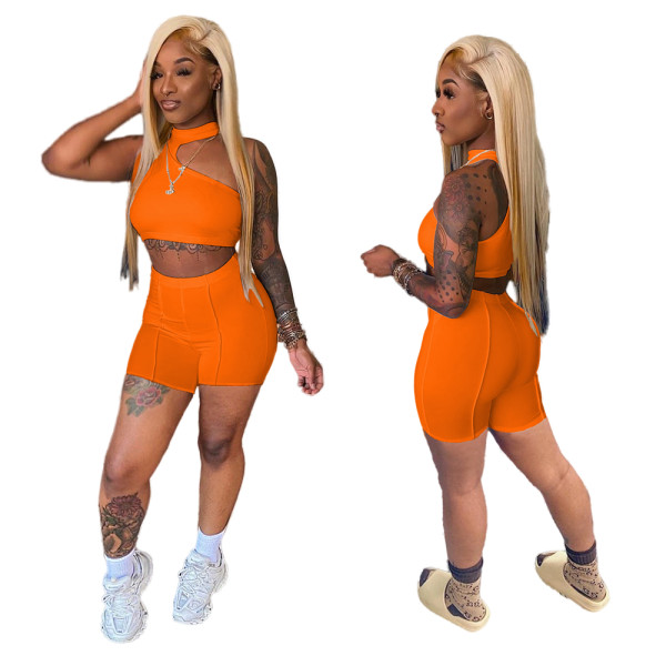Orange Irregular Crop Top and Shorts Two Piece Set