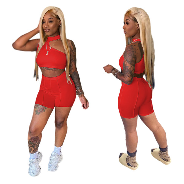 Red Irregular Crop Top and Shorts Two Piece Set