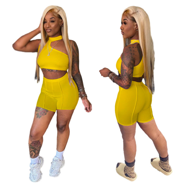 Yellow Irregular Crop Top and Shorts Two Piece Set