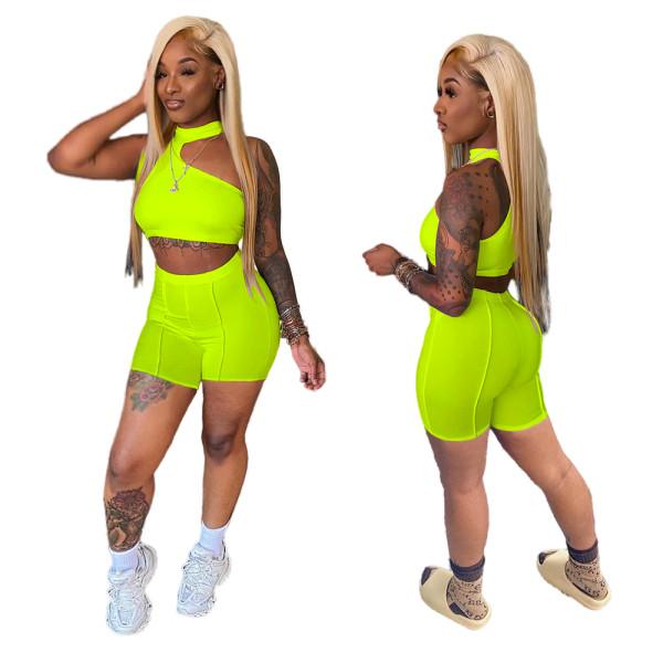 Green Irregular Crop Top and Shorts Two Piece Set