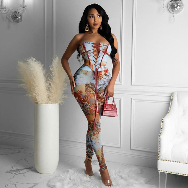 Retro Print Lace-Up Strapless Irregular Top and Tight Pants Set