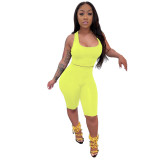 Yellow Solid Fitted Cropped Tank and Shorts Set