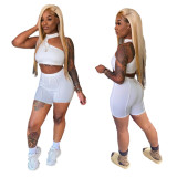 White Irregular Crop Top and Shorts Two Piece Set