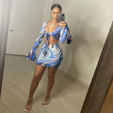 Print Blue Tie Front Crop Top and Mini Skirt Two Piece Set