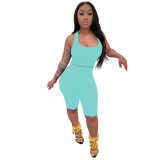Cyan Solid Fitted Cropped Tank and Shorts Set