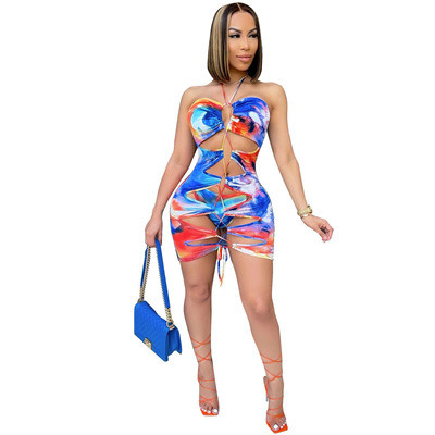 Tie Dye Lace Up Hollow Out Two Piece Swimwear