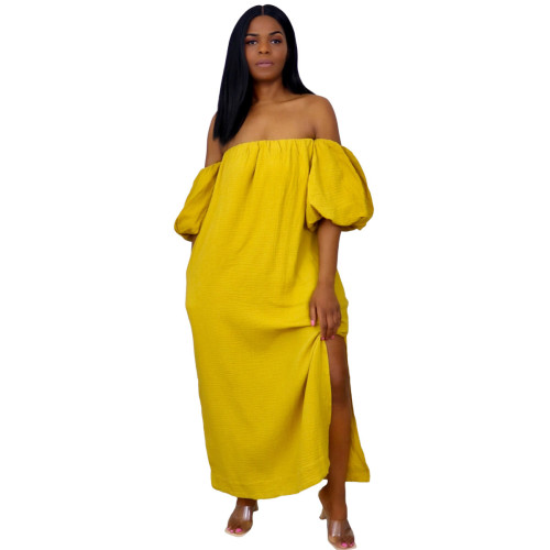 Yellow Off Shoulder Puff Sleeve Casual  Long Dress