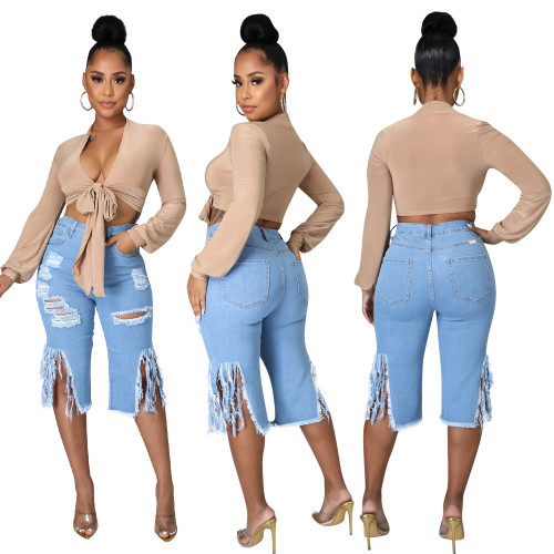 Stylish Ripped Tassel Denim Shorts in Blue