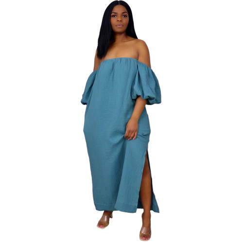 Solid Off Shoulder Puff Sleeve Casual  Long Dress