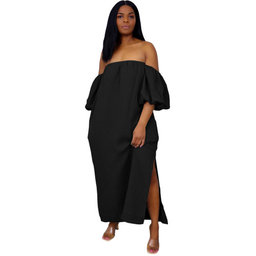 Black Off Shoulder Puff Sleeve Casual  Long Dress