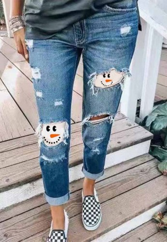 Blue Ripped Stylish Jean with Contrast Patch