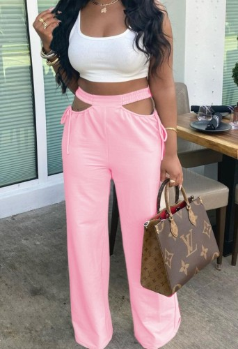 Pink Hollow Out High Waist Wide Leg Pants