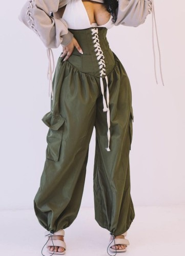 Green High Waist Lace-Up Casual Pants