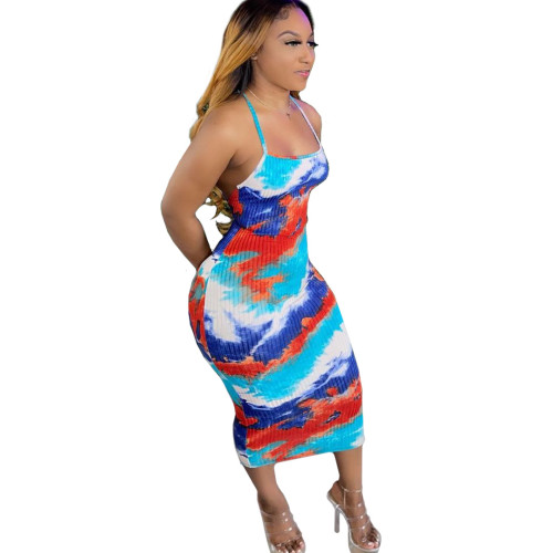 Tie Dye Red and Blue Sexy Cross Back Cami Bodycon Dress