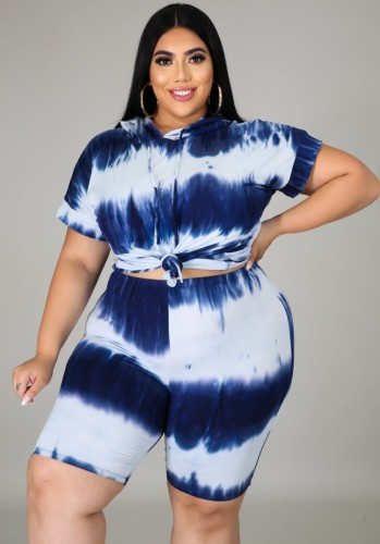 Plus Size Tie Dye Blue Hoodie and Shorts 2PC Set