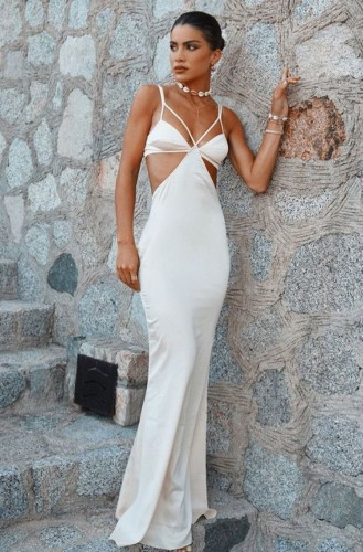 White Hollow Out Sexy Cami Evening Dress