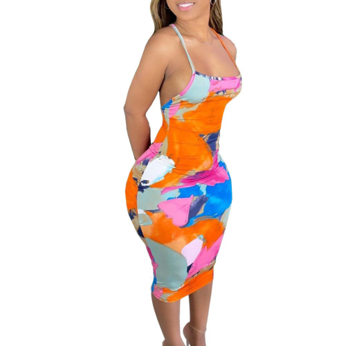 Print Orange Sexy Cross Back Cami Bodycon Dress