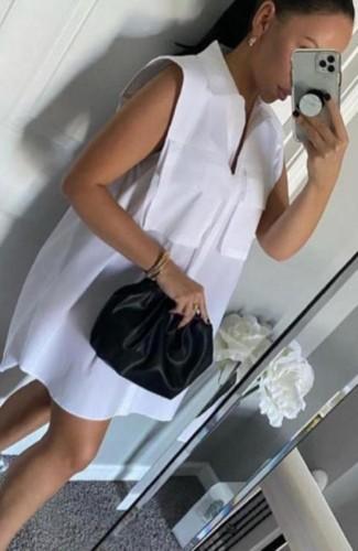 White Sleeveless Loose Blouse Dress