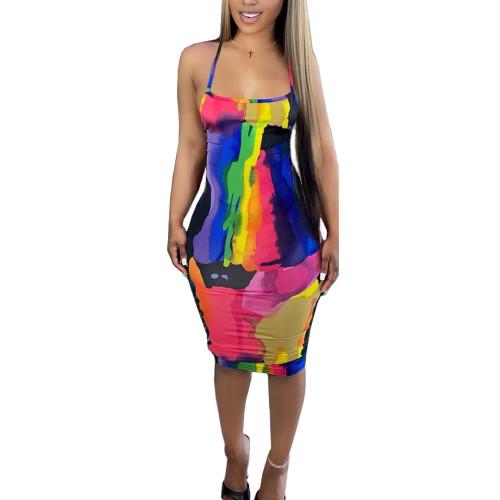 Print Paints Sexy Cross Back Cami Bodycon Dress