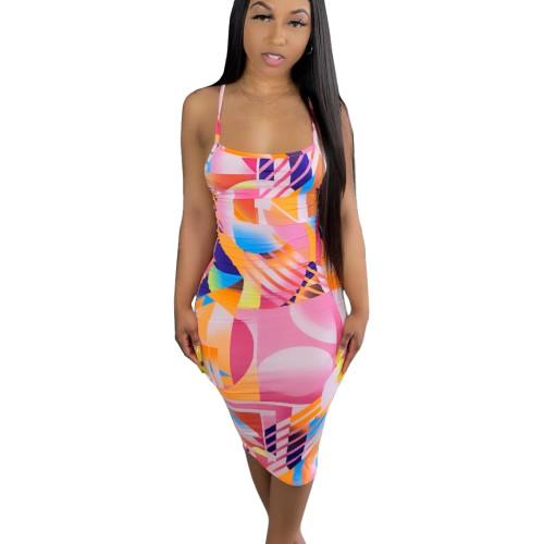 Print Pink Sexy Cross Back Cami Bodycon Dress