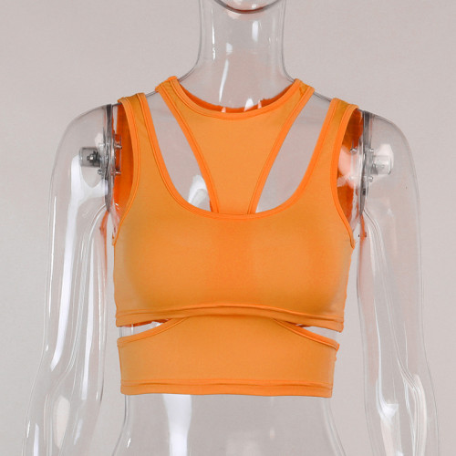 Orange Sexy Hollow Out Crop Tank Top