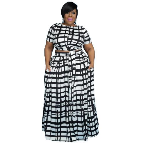 Plus Size Black Grid Print Two Piece Long Skirt Set