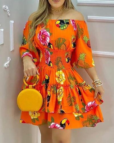 Orange Floral Off Shoulder Shirred Waist Ruffle Casual Dress